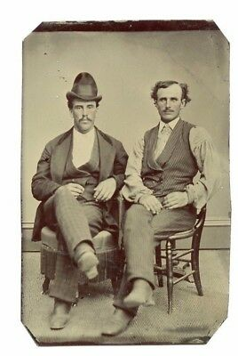 Antique Tintype Photo: Two Seated Male Partners, Unusual Hat, 19th Century
