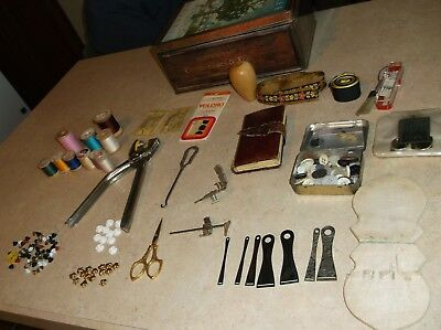 7 Antique Sterling Silver Ribbon Bodkins & Tin w/ Vintage Sewing Items ESTATE