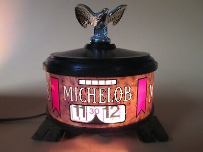 Vintage Michelob Bar Spinning Advertising Clock  With Light Works Perfectly