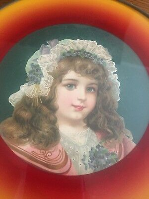 Antique Victorian Chimney Flue Cover Young Girl in Bonnet with Flowers
