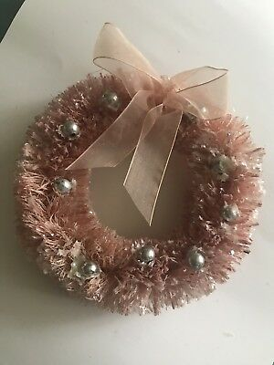 PINK FLOCKED BOTTLE BRUSH CHRISTMAS WREATH W/ Silver Ball Bead Ornaments Vintage