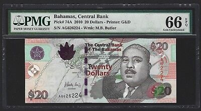 BAHAMAS 2010 $20 Dollars P-74A, PMG 66 EPQ Gem UNC, Older Type Now Scarce