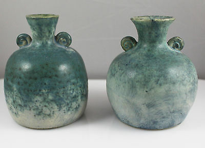 Pair Conwy Pottery Wales Celtic Heritage Collection Vases / Pot mottled 10cm