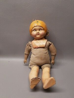 "Antique composition doll 1920's lemon fruit head hat 14"" tlc"