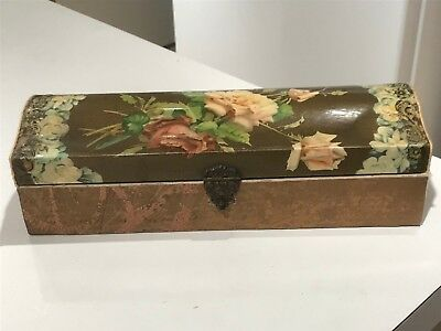 Antique Victorian Celluloid Glove Box W/ Roses On Top & Decorative Brass Closure