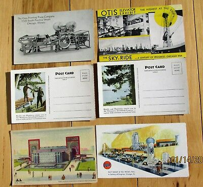 6 various post cards form Chicago Fair 1933-