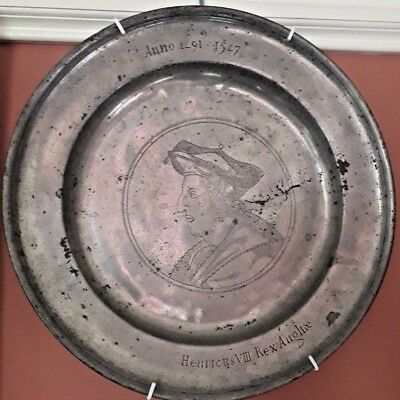 Large Pewter Charger Of Henry Viii