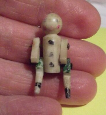 RARE Vtg Bone Carved Mechanical Movable Segmented Doll Figurine Charm 1-1/4""