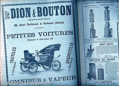 """La Nature"" 1901 F. Technik Journal Kamera Technik Reklamen Krauss DeDion Bouton"