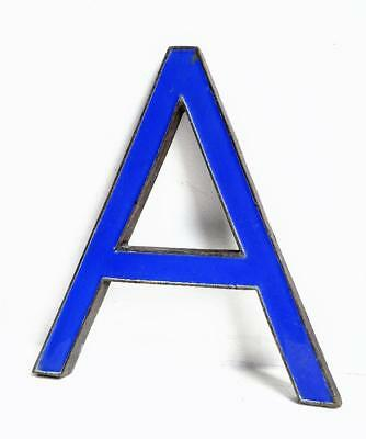 Vintage Antique Bronze Metal & Blue Enamel Shop Display Sign Letter - A - 8""