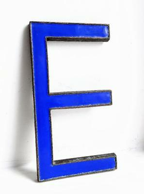 Vintage Antique Bronze Metal & Blue Enamel Shop Display Sign Letter - E - 8""