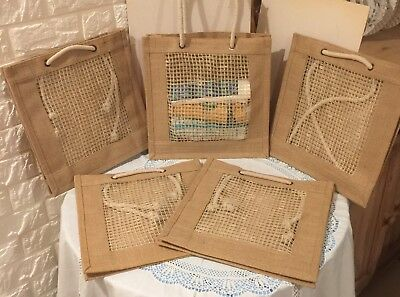 "Job Lot 5 X New Natural 12"" Jute Hessian Tote Gift Craft Shopping Bags"
