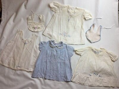 Vintage Antique Baby Gowns Lot Of 4 HandMade Embroidered White Cotton Dress Doll
