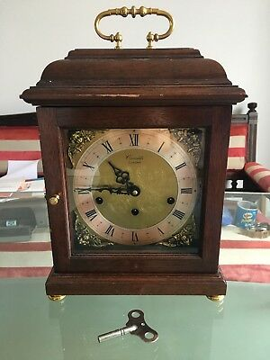 Comitti Of London. Mahogany Basket Top. 8 Day Westminster Chime Mantel Clock.