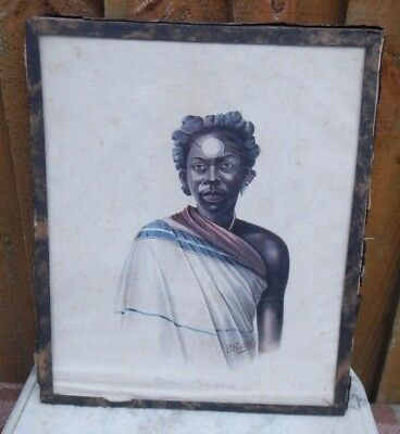 c1900 ANTIQUE PAINTING ON SILK MADAGASCAR MALAGASY THURIA CHIEF SIGNED O.RATORDY