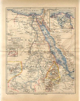 1887 EGYPT  DARFUR ABYSSINIA Antique Map