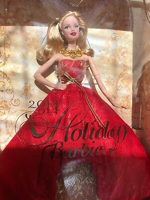 NEW 2014 Holiday Barbie Doll Blonde Collector Edition Christmas Gold Red w/Stand