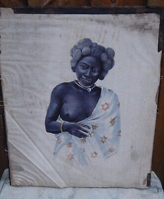 c1900 ANTIQUE PAINTING ON SILK MADAGASCAR MALAGASY WOMAN SIGNED O.RATORDY