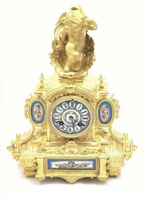 Antique French 19th c Ormolu & Sevres Porcelain Figural 8 Day Bell Mantle Clock
