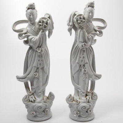 "Two Large Vintage Chinese Porcelain Blanc de Chine GuanYin Figures (15"" Tall)"