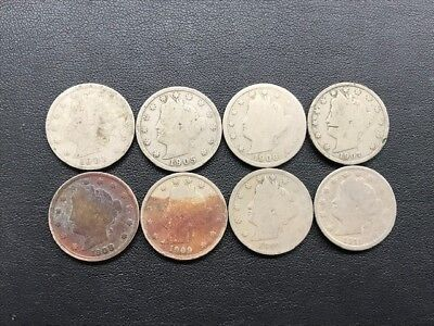 Lot of 8 Assorted Liberty V-Nickels (1901, '05, '06, '07, '08, '09, '10, '11)