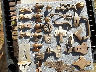 Junk Drawer Lot Antique Furniture Cabinet Hardware & Decor Brass Cast Ornate OLD