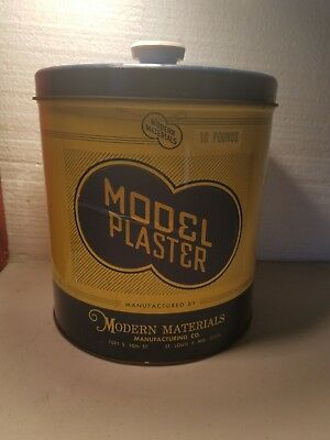 VINTAGE Model Plaster TIN CAN modern materials old w/ lid advertising