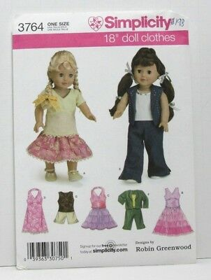 Simplicity 3764 Sewing Pattern 18'' Doll Clothes Pants Top Dress Skirt Uncut