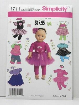 Simplicity 1711 Sewing Pattern 18'' Doll Clothes Dress Top Skirt Leggings Uncut