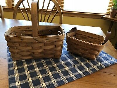 Longaberger Lot of 2 Vintage Baskets Candle Basket and Tea Basket (1983)