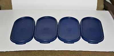 Lot of 4 Tupperware Modular Mates Oval Seal Dark Blue 1616 Replacement Lids