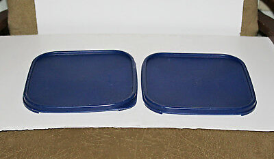 2 Pcs Tupperware Modular Mates Square Dark Blue Lid Replacement Seal #1623