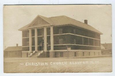1925 Real Photo Postcard Christian Church Clayton New Mexico