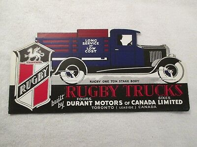 Durant Motors of Canada Rugby Trucks Advertising Blotter Toronto Canada Leaside