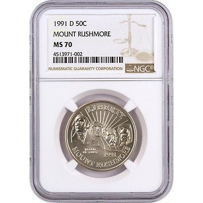1991-D NGC MS70 Mount Rushmore Clad Half Dollar Coin
