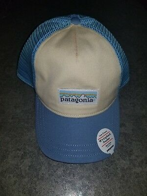 56d4224fbfb Patagonia Women s Pastel P-6 Label Layback Trucker Hat Tan Blue Mesh Snap  Back