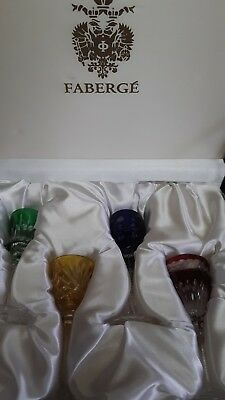Exquisite FABERGE 4 Color CORDIAL GLASSES Set Crystal Perfect condition BOX