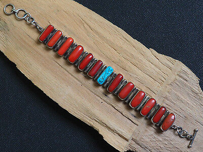 Natural Antique Aka Big Coral Organic Untreated Silver 925 Bracelet Old Red 49 g