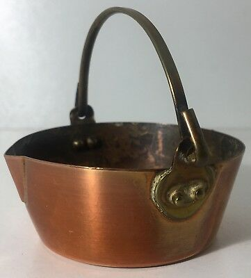 Vintage Miniature Copper & Brass Jam Pan  Cauldron