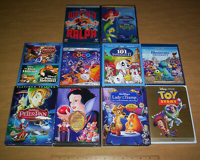LOT OF 12 DISNEY DVDs & BLU-RAYS! PETER PAN SNOW WHITE LADY & THE TRAMP COCO 101