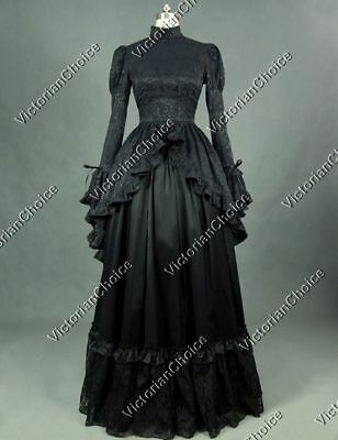 Gothic Victorian Black Brocade Gown Dress Theatrical Steampunk Clothing 324 XL