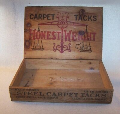 Nice Old Vintage Wooden Store Display Box - Honest Weight Carpet Tacks - Estate