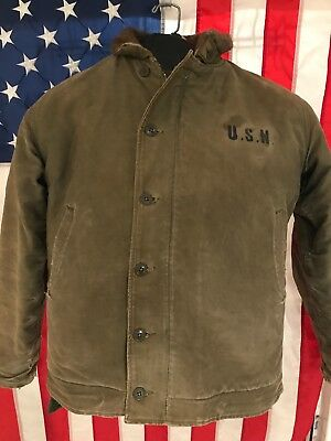 Authentic WWII US Navy USN N-1 Deck Jacket Alpaca Lined Size 42