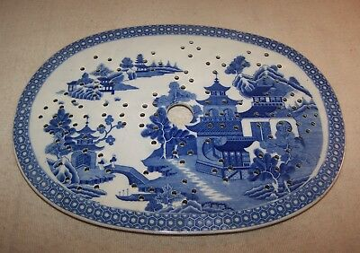 Scarce 19th C. Staffordshire Strainer / Drainer for Meat Platter - Blue Dec.