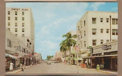 Ft. Lauderdale, Fl/ South Andrews Ave/ business district/stores/ chrome postcard