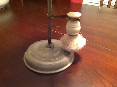 vintage shaving mirror stand with brush