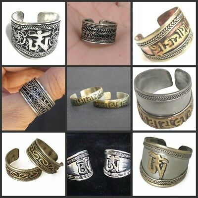Wholesale Lot Resale 9pcs Tibetan Turquoise OM Amulet Assorted Ring A+ Quality