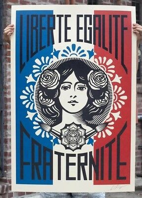 SIGNED Shepard Fairey Liberte Egalite Fraternite Print Poster Obey 24x36 In Hand