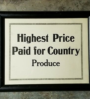 Antique AAFA Country Produce For Sale Sign 1940 Later Frame Illinois