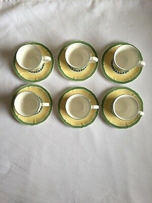 Villeroy & Boch FRENCH GARDEN FLEURENCE  6 Demitasse Cups and Saucers